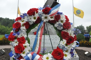 The wreath laid in front of the Sussex County 9/11 Memorial. Photo by Jennifer Jean Miller.