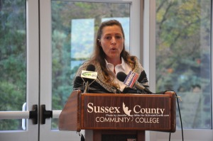 Karen DiMaria at the podium. Photo by Jennifer Jean Miller.