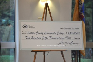 The check that the Sussex County Community College Foundation Received. Photo by Jennifer Jean Miller.