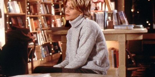 A melancholy-looking Meg Ryan as Kathleen in You've Got Mail, contemplates the sad decision of closing her beloved store. Image courtesy of Warner Brothers.