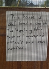 A note on a door a resident in Hopatcong has placed on their home, after their home was fraudulently put up for rent on Craigslist by another person. Photo courtesy of the Hopatcong Police Department.