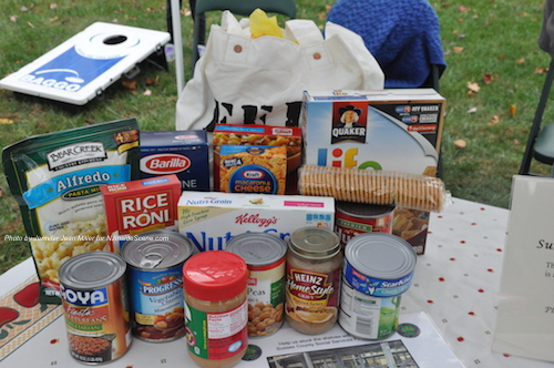 A sample of a bag of food given out to a single beneficiary who receives food from the Sussex County Food Pantry. Photo by Jennifer Jean Miller.