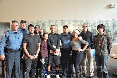 Newton Police Officers pose with SCCC students for a photo. Photo by Jennifer Jean Miller.