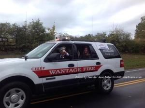 Wantage Fire Department Chief's truck with Miss Wantage 2014 Courtney DeWaal-Malefyt. Photo by Jennifer Jean Miller.