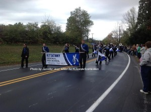 Kittatinny Regional High School led the parade with the school's marching band. Photo by Jennifer Jean Miller.