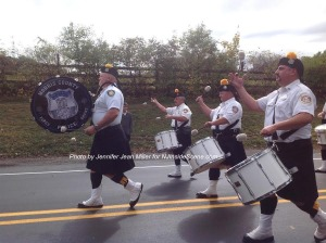 Morris County Police Pipes and Drums Drumming before the Newton Fire Department. Photo by Jennifer Jean Miller.