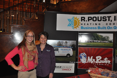 Jamie Johnson (left) and Deborah Poust Johnson (right) at the table for R. Poust Inc. and Mr. Rooter (Editor's Note: Mr. Rooter is an advertiser on NJInsideScene.com). Photo by Jennifer Jean Miler.