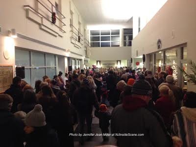 The crowd packing the medical center lobby. Photo by Jennifer Jean Miller.