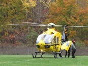The helicopter pictured was used to help airlift a local resident to Morristown Medical Center. Photo courtesy of the Hopatcong Police Department.