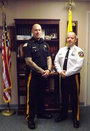 (Pictured L-R) Sheriff's Officer Justin McCann and Sheriff Michael F. Strada. Photo courtesy of the Sussex County Sheriff's Office.