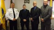 (Pictured L-R) Sheriff Michael F. Strada, Sheriff's Officer Mark Williams, Sheriff's Officer Mark Peer, and Sheriff's Officer Stephen Peterson. Photo courtesy of the Sussex County Sheriff's Office.