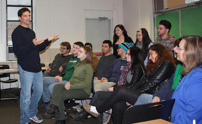Chris Ciaffa talks to students at SCCC. Photo courtesy of SCCC.