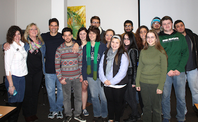 Chris Ciaffa poses with students. Photo courtesy of SCCC.