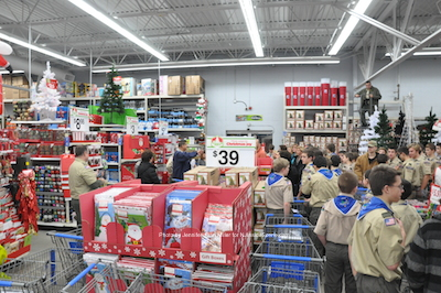 Scouts wait for instruction at Franklin Walmart. Photo by Jennifer Jean Miller.