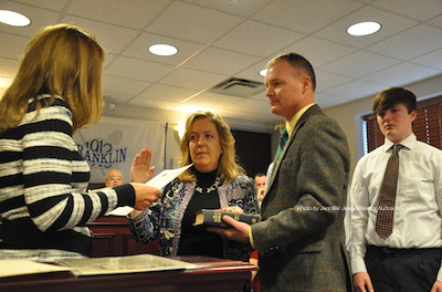 Alison Littell McHose sworn in as Franklin Borough Administrator with her family. Photo by Jennifer Jean Miller.