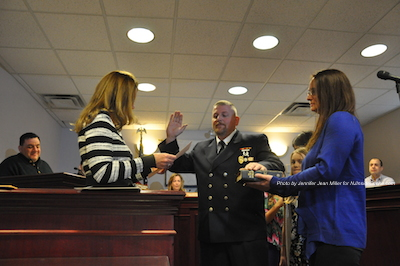 Troy Kays sworn in as Franklin Fire Department's Chief. Photo by Jennifer Jean Miller.