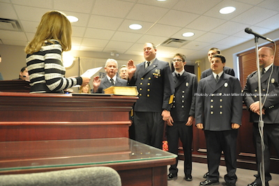 Franklin Fire Department officers sworn in. Photo by Jennifer Jean Miller.