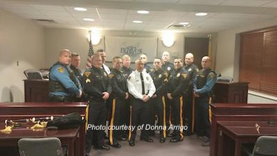 Members of the Franklin Borough Police Department at the swearing in of Zachary Oren. Photo courtesy of Donna Arrigo.
