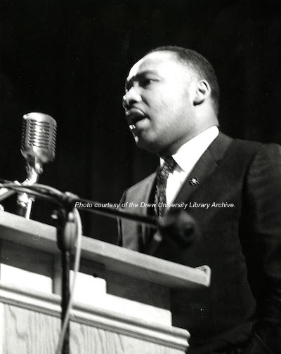 Dr. Martin Luther King Jr. during his speech at Drew University in Madison. Photo courtesy of the Drew University Library Archive.