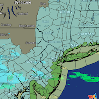 Radar image of the anticipated winter storm, predicted to arrive on Monday, Jan. 26. The green band on the map shows the area of greater accumulation, forecasted to be historic for New York City, Providence and Boston, with some experts indicating the cities could be shut down. Image courtesy of Weather Underground.