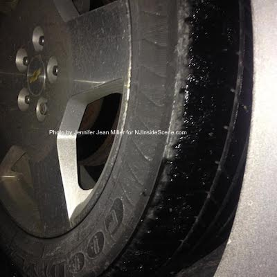 Icy tire with an icy surface can be a combination for disaster. Photo by Jennifer Jean Miller.
