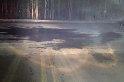 Sparta Police captured this picture of a Sparta intersection where two individuals poured water to create icy conditions, to cover up the cause of a hit and run accident. Photo courtesy of the Sparta Police Department.