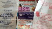 From left to right: special offers on the flip side of receipts from Walmart, the Super Stop & Shop in Sparta and Wendy's. Photo by Jennifer Jean Miller.