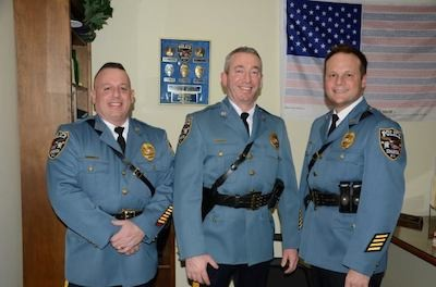 Newly retired Sparta Police Officer Lt. Joseph Schetting (center) pictured with Lt. John Paul Beebe (left) and Lt. Neil Spidaletto (right). Photo courtesy of the Sparta Police Department..