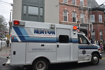 One of Newton First Aid Squad's rigs in the parade. Photo by Jennifer Jean Miller.