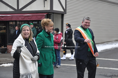 Senator Steve Oroho and Asssemblywoman and Franklin Borough Administrator Alison Littell McHose march with Sussex County Freeholder and Assembly candidate Gail Phoebus (center). Photo by Jennifer Jean Miller.