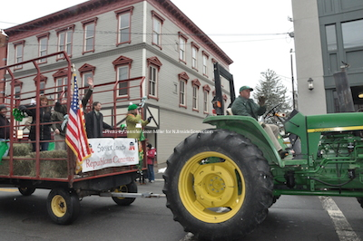 The Sussex County Republican Committee is towed along with Assemblyman Parker Space driving a tractor. Photo by Jennifer Jean Miller.