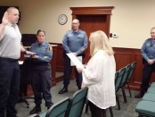 Officer Vincent Fullman being sworn in. Image courtesy of the Hopatcong Police Department.