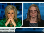 Television journalist Nancy Grace holds back her emotions during the broadcast with Sandra Hughes Dohm. Image courtesy of HLN TV.