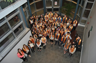 Newly inducted members into the Phi Theta Kappa (PTKP Honor Society. Image courtesy of SCCC.