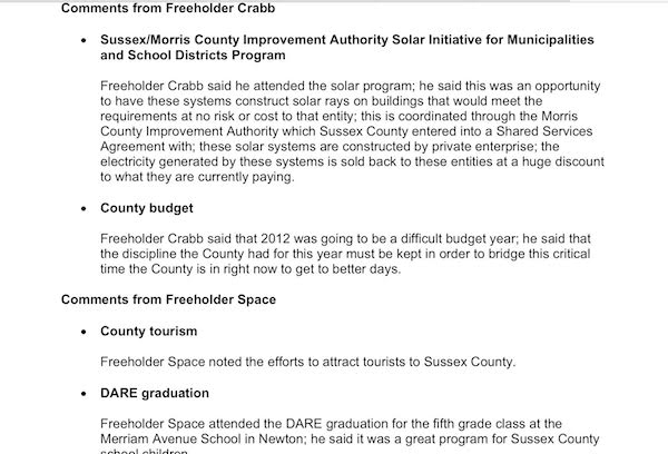 Comments from Freeholder Phil Crabb about the solar project on April 11, 2011, and attending a solar program meeting. Image courtesy of the Sussex County Board of Chosen Freeholders minutes.