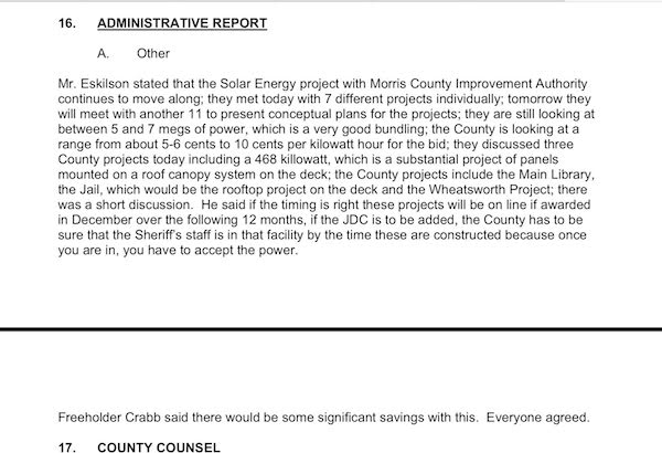 Comments about the Sussex County Solar Energy Project, with John Eskilson and Phil Crabb speaking on the topic, on June 22, 2011.