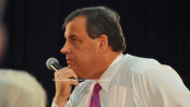 Governor Chris Christie listens intently during the town hall event. Photo by Jennifer Jean Miller.