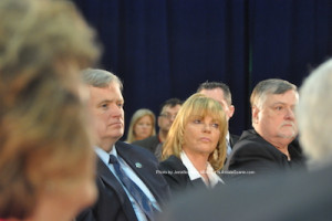 Sussex County Freeholders George Graham, Gail Phoebus and Phil Crabb listen to Governor Christie speak. Freeholder Richard Vohden was present but not pictured and Freeholder Dennis Mudrick was not present at the event. Photo by Jennifer Jean Miller.