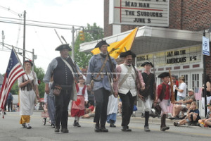 Colonial reenactors in the parade. Photo by Jennifer Jean Miller.