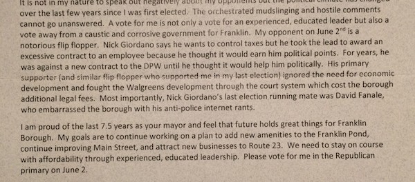 The excerpt of the letter referring to Nick Giordano that Paul Crowley sent to Franklin Borough Republican Voters. Image courtesy of Nick Giordano.