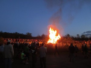 The bonfire roars at the event. Photo courtesy of Venturing Crew 276.