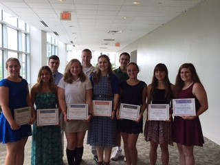 Caring Award Recipients (from left to right): Victoria Pizzulo of Sussex County Technical School; Desiree Darella of Vernon Township High School; Franki Whritenour of Pope John XXIII Regional High School; Amy Aroune of High Point Regional High School; Megan Astor of Wallkill Valley Regional High School; Emma Lynn Kline of Newton High School; Julia Leyden of Lenape Valley High School; Tyler Trzcinski of Sparta High School; Jacob Brown of Kittatinny Regional High School; and Timohty Lavery of Hopatcong High School. Photo courtesy of SCCC.