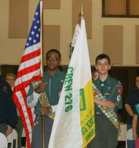 Color guard conducting opening ceremonies, Marcus Hobson (left) and Steven Rozek (right). Photo courtesy of Venturing Crew 276.