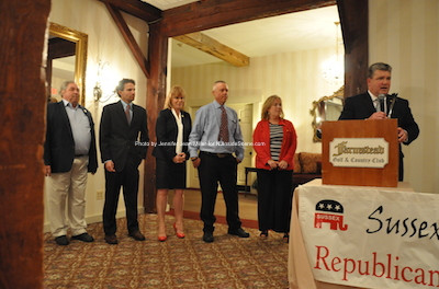 Senator Steve Oroho introduces the winners, from left to right: Carl Lazzaro, Jonathan Rose, Gail Phoebus and Parker Space. Also pictured is Alison Littell McHose, who has resigned from her assembly seat. Photo by Jennifer Jean Miller.