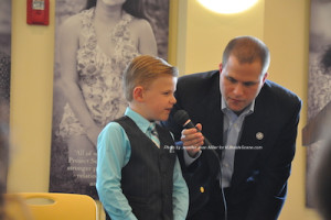 Aidan Card takes the microphone with Thomas S. Russo, Jr. Photo by Jennifer Jean Miller.