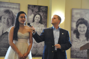 Hannah Balatero, first runner up, as she answers questions from Thomas S. Russo, Jr. Photo by Jennifer Jean Miller.