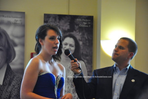 Amelia Macchietto answers her question at the contest and is later crowned Miss Newton 2015. Photo by Jennifer Jean Miller.