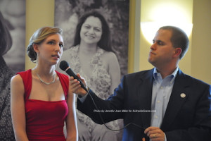 Cassidy Turner takes her turn at the microphone with Thomas S. Russo Jr. Photo by Jennifer Jean Miller.