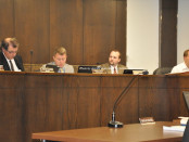 The Newton Town Council discusses the change to one-way traffic on Spring Street. Photo by Jennifer Jean Miller.