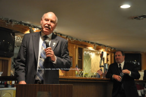 Gil Gibbs speaks about the Elks and Bill Curcio. Photo by Jennifer Jean Miller.